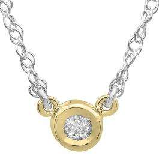0.25 Carat (ctw) 14K Yellow Gold Round Diamond Ladies Bezel Set Solitaire Pendant 1/4 CT