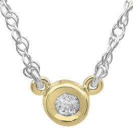 0.33 Carat (ctw) 14K Yellow Gold Round Diamond Ladies Bezel Set Solitaire Pendant 1/3 CT