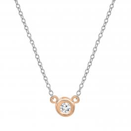 0.05 Carat (ctw) 14k Rose Gold Round Diamond Ladies Bezel Set Solitaire Pendant 1/20 CT