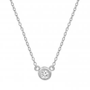 0.05 Carat (ctw) 14k White Gold Round Diamond Ladies Bezel Set Solitaire Pendant 1/20 CT