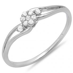 0.10 Carat (ctw) 10k White Gold Round Diamond Ladies Bridal Swirl Split Shank Cluster Promise Ring 1/10 CT