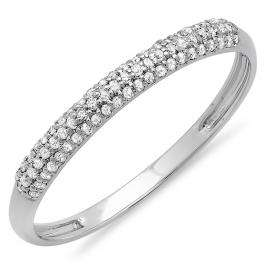 0.20 Carat (ctw) 14K White Gold Round Diamond Ladies Bridal Anniversary Wedding Band Stackable Ring 1/5 CT