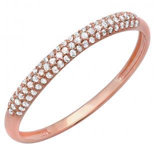 0.20 Carat (ctw) 18k Rose Gold Round Diamond Ladies Bridal Anniversary Wedding Band Stackable Ring 1/5 CT