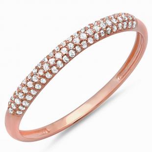 0.20 Carat (ctw) 14K Rose Gold Round Diamond Ladies Bridal Anniversary Wedding Band Stackable Ring 1/5 CT