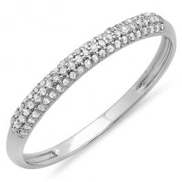 0.20 Carat (ctw) 18k White Gold Round Diamond Ladies Bridal Anniversary Wedding Band Stackable Ring 1/5 CT