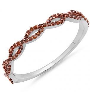 0.20 Carat (ctw) 14K White Gold Round Red Diamond Ladies Swirl Anniversary Wedding Band Stackable Ring 1/5 CT