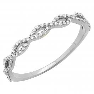 0.20 Carat (ctw) 18K White Gold Round Diamond Ladies Swirl Stackable Wedding Band 1/5 CT