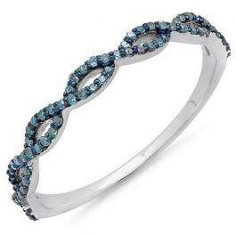 0.20 Carat (ctw) 10K White Gold Round Blue Diamond Ladies Swirl Anniversary Wedding Band Stackable Ring 1/5 CT