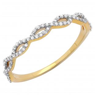 0.20 Carat (ctw) 10K Yellow Gold Round Diamond Ladies Swirl Anniversary Wedding Band Stackable Ring 1/5 CT