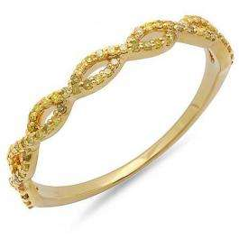 0.20 Carat (ctw) 10K Yellow Gold Round Yellow Diamond Ladies Swirl Anniversary Wedding Band Stackable Ring 1/5 CT
