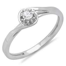 0.12 Carat (ctw) 14K White Gold Round Cut Diamond Ladies Twisted Style Solitaire Bridal Promise Ring