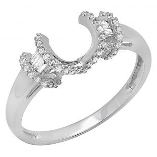 0.20 Carat (ctw) 14k White Gold Round & Baguette Diamond Ladies Anniversary Wedding Band Enhancer Guard Ring 1/5 CT
