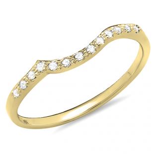 0.10 Carat (ctw) 14K Yellow Gold Round Cut Diamond Ladies Anniversary Wedding Stackable Guard Band 1/10 CT