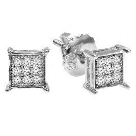 0.06 Carat (ctw) 14K White Gold Round Diamond Square Shape Men's Hip Hop Iced Stud Earrings