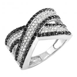 1.00 Carat (ctw) 10k White Gold Round Black & White Diamond Ladies Cocktail Right Hand Ring 1 CT