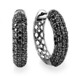 3.00 Carat (ctw) 10k White Gold Black Rhodium Plated Round Black Diamond Men's Hip Hop Iced Out Hoop Earrings 3 CT