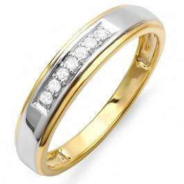 0.12 Carat (ctw) 18K Yellow Gold Plated Sterling Silver Round Diamond Men's Seven Stone Wedding Band
