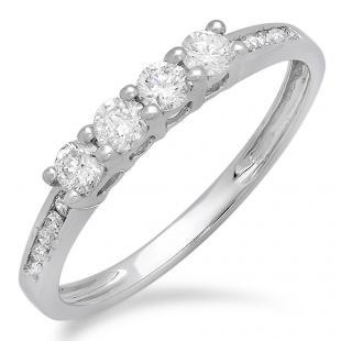 0.50 Carat (ctw) 18K White Gold Round Diamond Ladies Bridal Anniversary Wedding Band Stackable Ring 1/2 CT