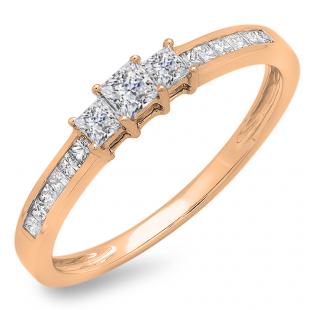 0.45 Carat (ctw) 10k Rose Gold Princess Cut Diamond Ladies Bridal 3 Stone Engagement Ring 1/2 CT
