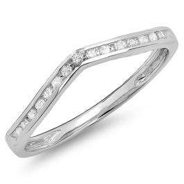 0.10 Carat (Ctw) 10K White Gold Round Cut Diamond Ladies Anniversary Wedding Stackable Band Contour Guard Ring 1/10 CT