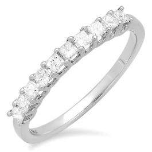 0.50 Carat (ctw) 14k White Gold Princess Cut White Diamond Ladies Bridal Wedding Band Anniversary Stackable Ring 1/2 CT