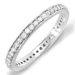 0.48 Carat (ctw) 14k White Gold Round Diamond Ladies Wedding Anniversary Eternity Band Stackable Ring 1/2 CT