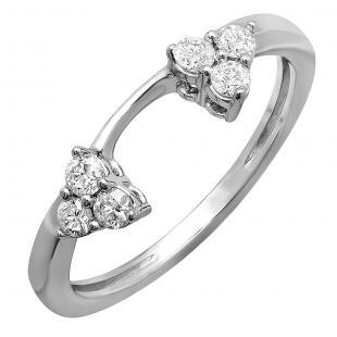 0.30 Carat (ctw) 18K White Gold Round Diamond Ladies Anniversary Wedding Ring Matching Guard Band 1/3 CT