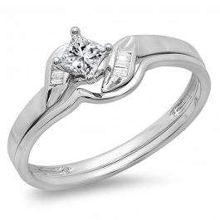 0.30 Carat (ctw) 14k White Gold Princess & Baguette Cut Diamond Ladies Bridal Engagement Ring Matching Band Set 1/3 CT