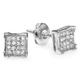 0.05 Carat (ctw) Platinum Plated Sterling Silver Round Diamond V Prong Square Shape Men's Hip Hop Iced Stud Earrings