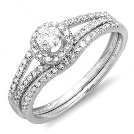 0.45 Carat (ctw) 14K White Gold Round Diamond Ladies Bridal Halo Style Engagement Ring With Wedding Band Set 1/2 CT