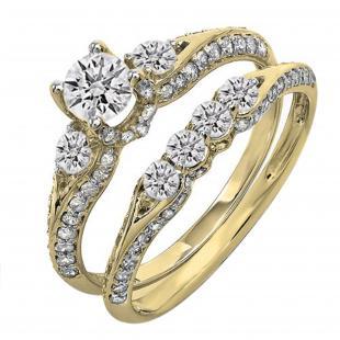 1.30 Carat (ctw) 14k Yellow Gold Round Diamond Ladies 3 Stone Bridal Engagement Ring Set With Matching Band
