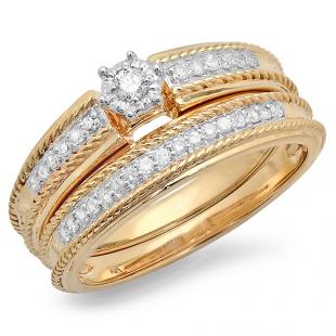 0.30 Carat (ctw) 14k Yellow Gold Round Diamond Ladies Bridal Engagement Ring Matching Band Set 1/3 CT