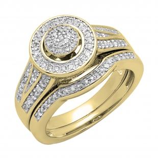 0.50 Carat (ctw) 14K Yellow Gold Round White Diamond Ladies Split Shank Bridal Engagement Ring Set Matching Wedding Band 1/2 CT