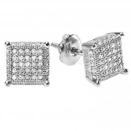 0.55 Carat (ctw) Platinum Plated Sterling Silver Round Diamond Dice Shape Ice Cube Men's Hip Hop Iced Stud Earrings 1/2 CT