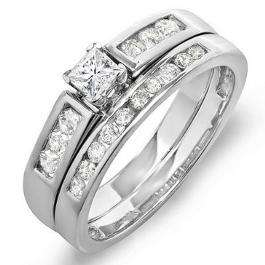 0.60 Carat (ctw) 14k White Gold Princess & Round Diamond Ladies Bridal Engagement Ring Set With Matching Band