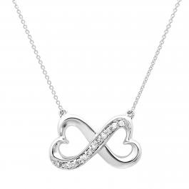 0.10 Carat (ctw) 14K White Gold Round White Diamond Ladies Double Heart Infinity Love Pendant 1/10 CT