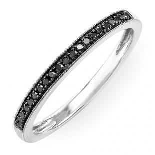 0.15 Carat (ctw) 14k White Gold Round Black Real Diamond Ladies Wedding Anniversary Millgrain Stackable Band Ring