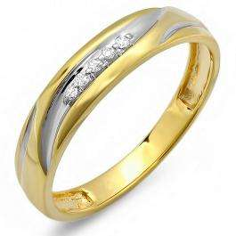 0.07 Carat (ctw) 18K Gold Plated Sterling Silver Round White Real Diamond Men's Two Tone Wedding Anniversary Band