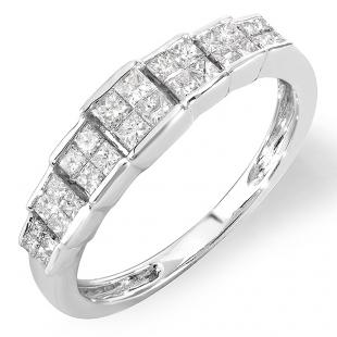 0.55 Carat (ctw) 14k White Gold Princess Diamond Ladies Bridal Engagement Ring 1/2 CT