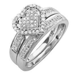 0.38 Carat (ctw) 10k White Gold Round Diamond Ladies Bridal Heart Shape Engagement Ring Set With Matching Band