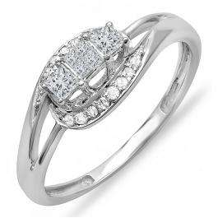 0.30 Carat (ctw) 10k White Gold Princess & Round Diamond Ladies 3 Stone Bridal Swirl Split Shank Promise Engagement Ring 1/3 CT