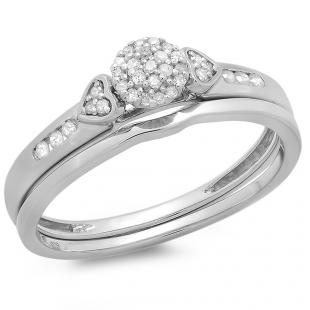 0.15 Carat (ctw) Sterling Silver Round Diamond Ladies Bridal Engagement Ring Matching Band Set