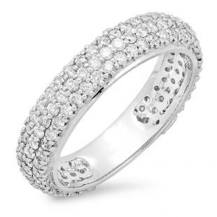 1.30 Carat (ctw) 14K White Gold Round White Diamond Ladies Pave Set Anniversary Wedding Eternity Ring Band