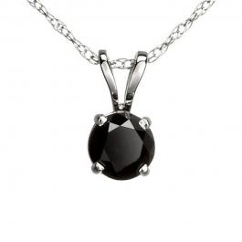 0.73 Carat (ctw) 14k White Gold Round Black Diamond Ladies Solitaire Pendant 3/4 CT