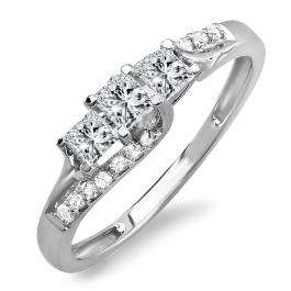0.48 Carat (ctw) 18k White Gold Princess & Round Diamond Ladies Bridal 3 Stone Swirl Wave Engagement Ring 1/2 CT
