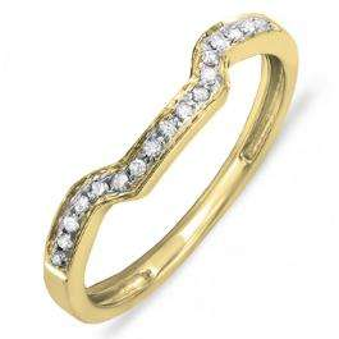 0.10 Carat (ctw) 10K Yellow Gold Round Cut White Diamond Ladies Anniversary Wedding Stackable Band Enhancer Guard Ring 1/10 CT