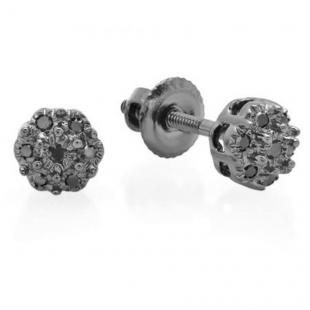 0.07 Carat (ctw) 10K White Gold Round Black Diamond Ladies Cluster Flower Stud Earrings