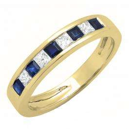 0.75 Carat (ctw) 10K Yellow Gold Princess Cut Blue Sapphire & White Diamond Ladies Anniversary Wedding Band Stackable Ring 3/4 CT