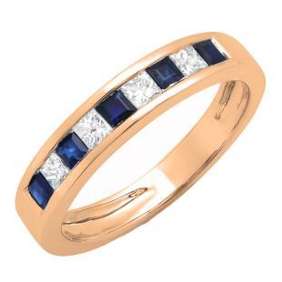 0.75 Carat (ctw) 14K Rose Gold Princess Cut Blue Sapphire & White Diamond Ladies Anniversary Wedding Band Stackable Ring 3/4 CT