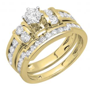1.80 Carat (ctw) 10K Yellow Gold Round Diamond Ladies Bridal Engagement Ring Matching Wedding Band Set
